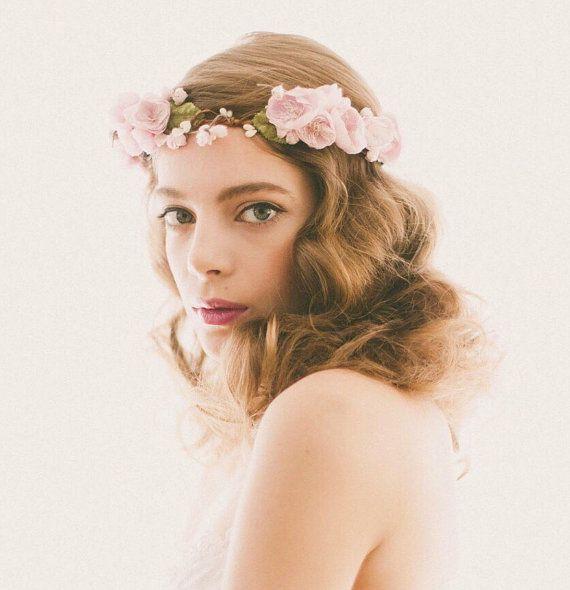 Lavender Flower Crown, Purple floral wreath, Bridal hair circlet, Plum wedding headpiece, Woodland wedding crown - ESTELLA