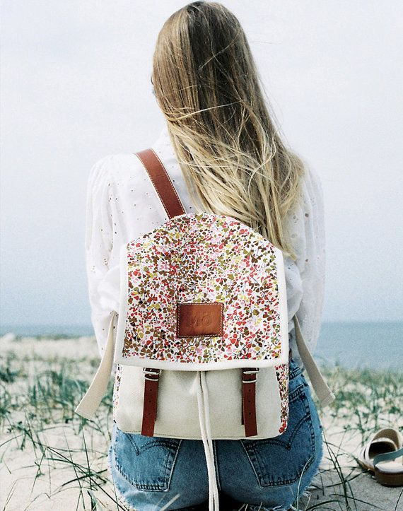 Clover Print Backpack, Canvas and Leather Backpack, Printed Fabric, green, grey and orange clovers, Women's Backpack
