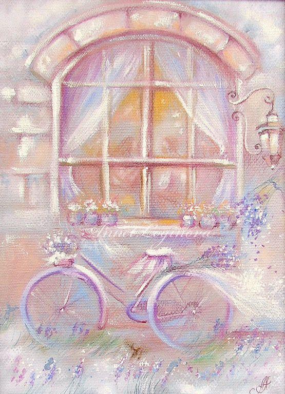 Купить Лавандовый вечер Печать на холсте - велосипед, необычный подарок, воздушные картины, купить картину