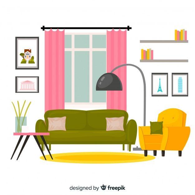 Elegant Living Room Interior With Flat Design In 2020 Elegant