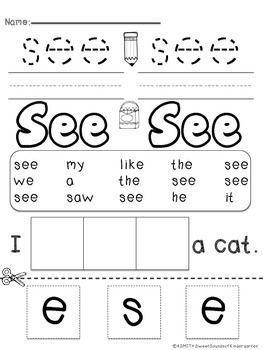 Sight Words {PrePrimer Printables} Sight Word