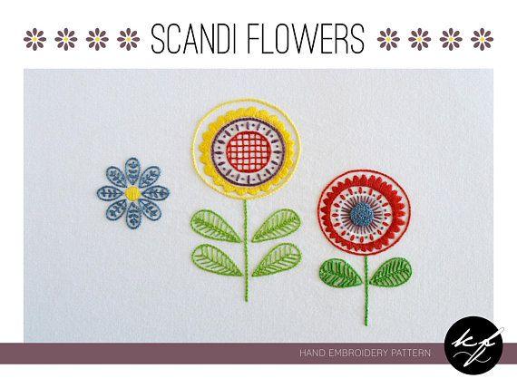 Scandi Flowers Hand Embroidery Pattern A Modern Embroidery Etsy Crewel Embroidery Kits Hand Embroidery Embroidery Patterns