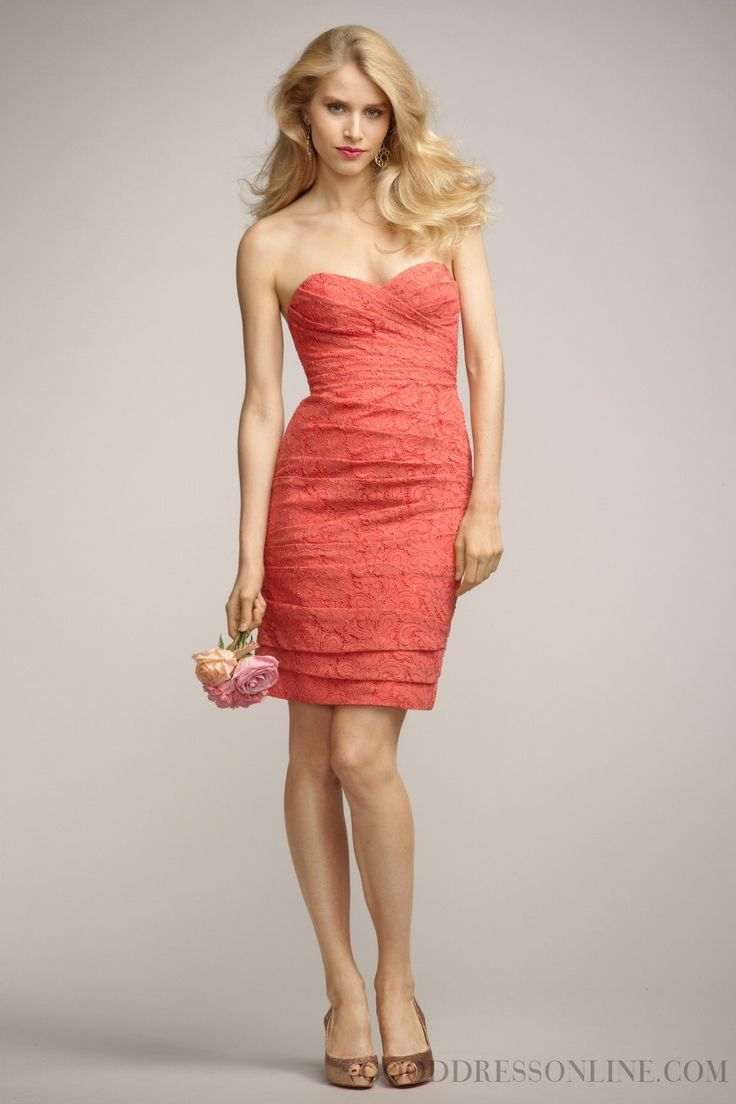 2013 Modest Sheath / Column Knee-length Sweetheart Lace Bridesmaid Dresses