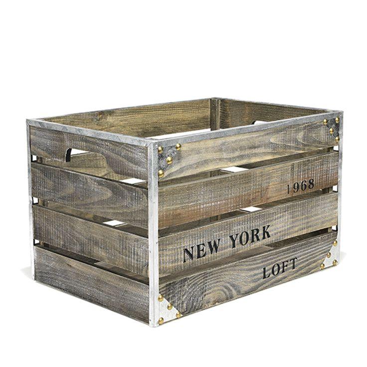caisse en bois grand mod le bois vieilli loft boites petits rangements toute la d co. Black Bedroom Furniture Sets. Home Design Ideas