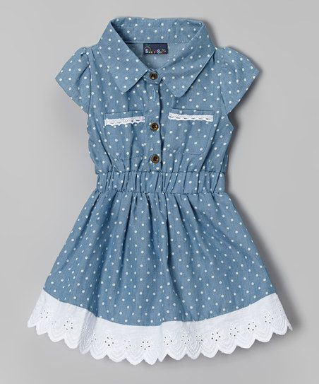 Light Blue Denim Polka Dot Dress - Infant & Toddler