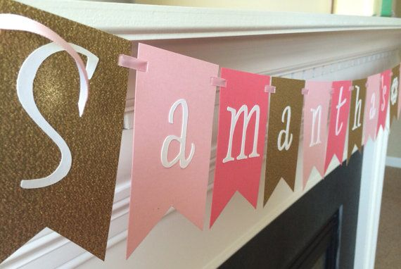 Pink Gold & Coral Bridal Shower Banner  by PinkPaperParty on Etsy, $18.00-- @Krista McClelland Not sure how coral this is, but super cute with the pink and gold.