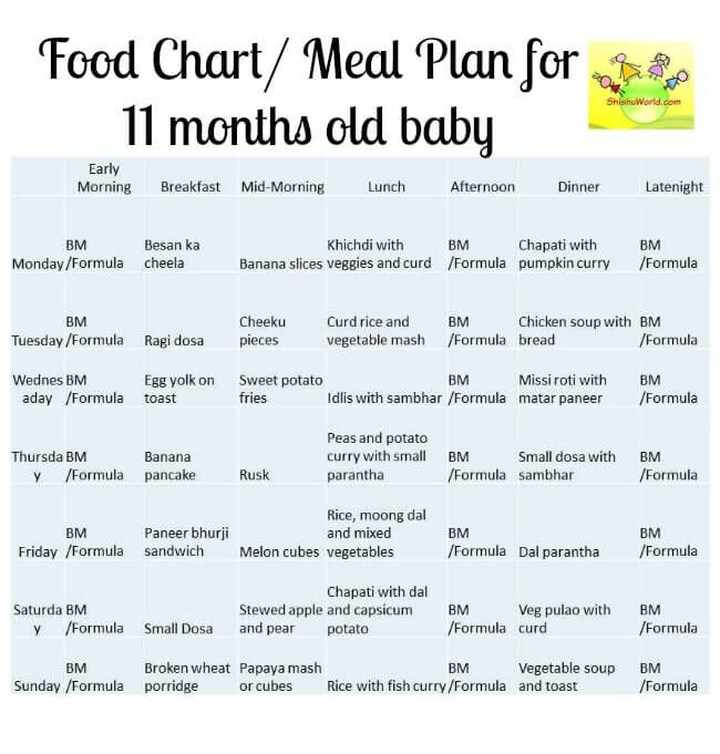 Food Chart/ Meal Plan for 11 Months old baby - ShishuWorld