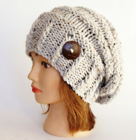 Natural White Tweed slouch hat women  beanies hat  by Johannahats, $41.00