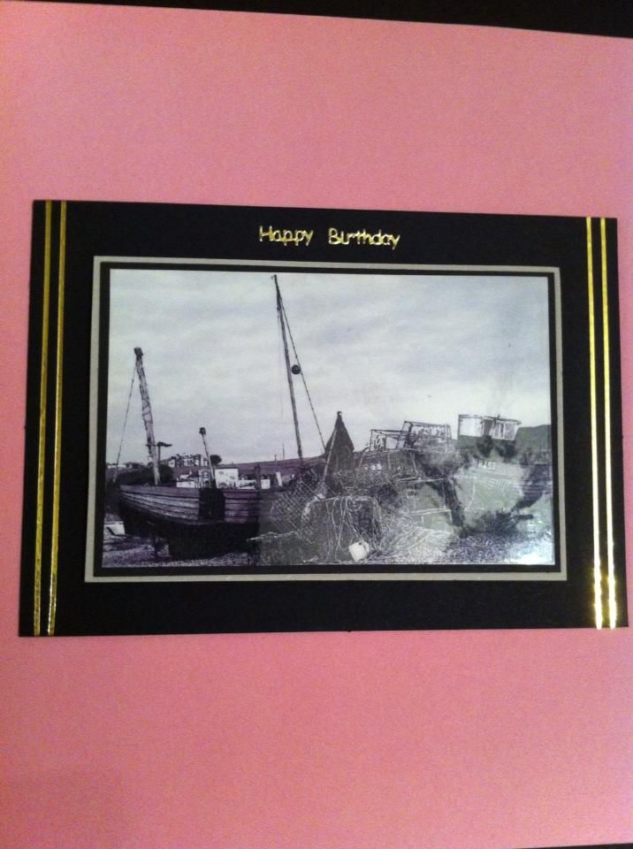 "Photograph of a Boat Yard. Made into a Card. Size is 6""x 4""."