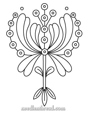 Free Hand Embroidery Pattern: Art Nouveau- see it in red,bit Hungarian -ish