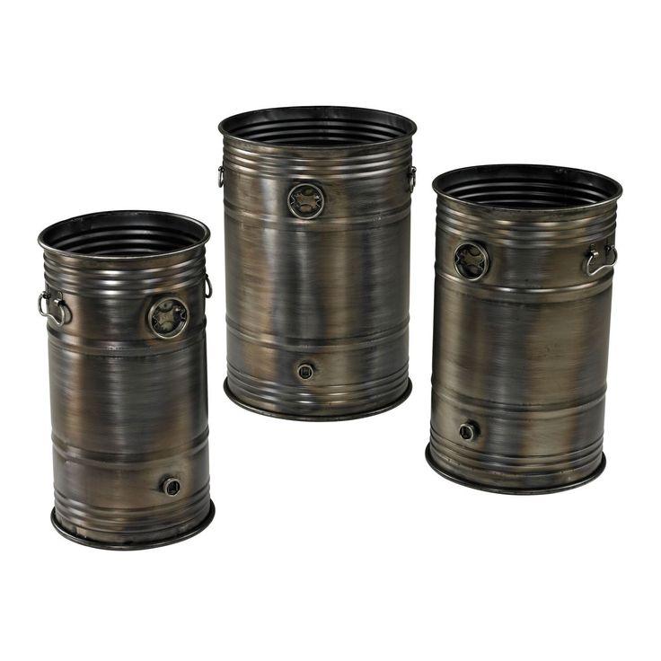 Set Of 3 Industrial Oil Drum Planters