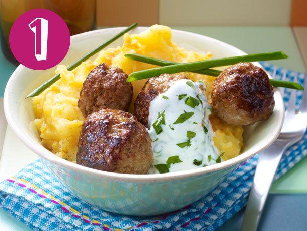 Kürbis-Kartoffelpüree mit Hackbällchen, Couscous-Tomaten-Salat, Nudel-Topf…