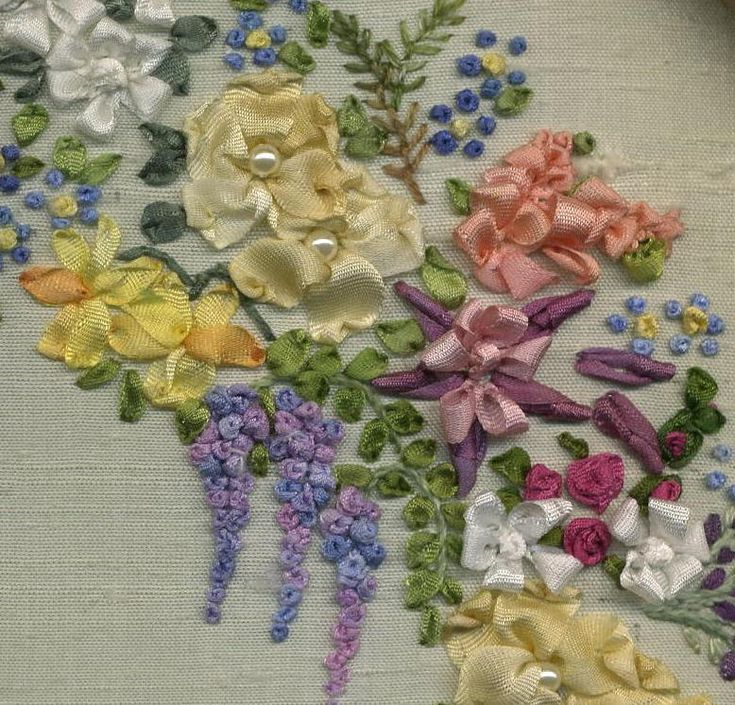 Spring garland of flowers silk ribbon supplies lorna