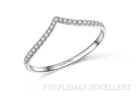 V Shaped Diamond Band Ring  18K White Gold diamond