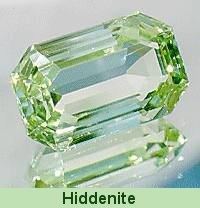 Hiddenite - named for William Earl Hidden.  First found in the Carolinas in the 1800s.  A type of spodumene.  A pink cousin is kunzite.