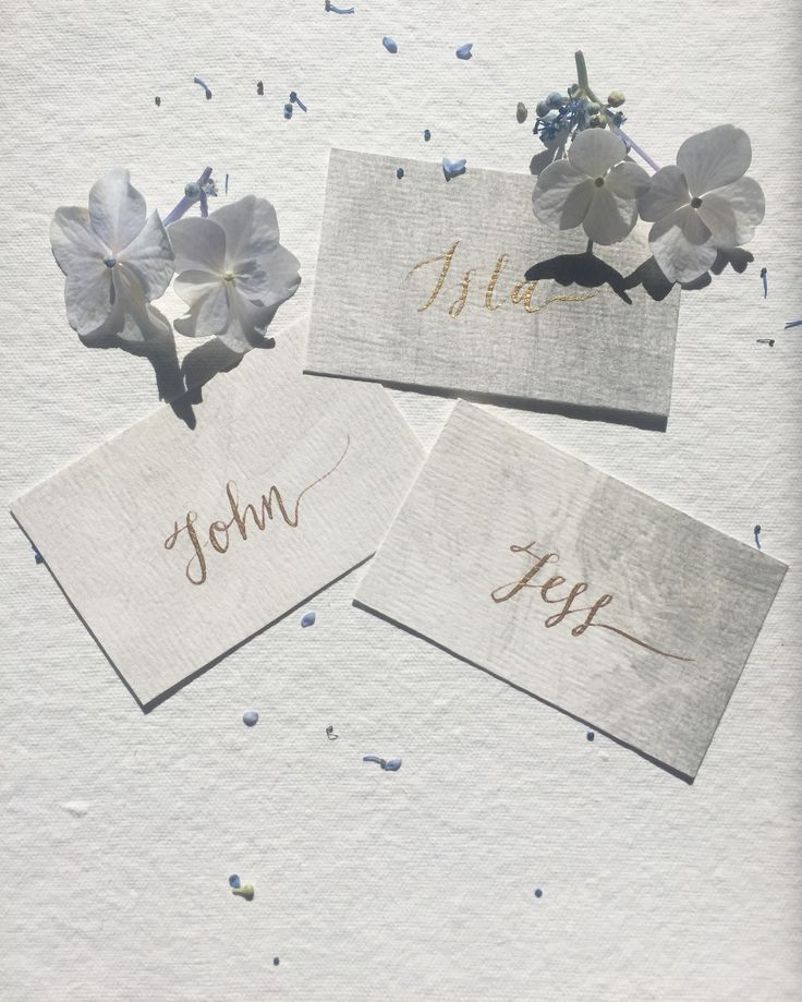 Gold calligraphy on grey watercolour place cards.