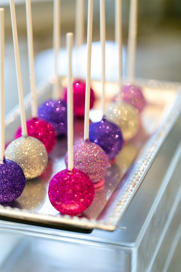 22 GORGEOUS GLITTER WEDDING IDEAS glittery cake pops we ❤ this! moncheribridals.com #weddingdesserts #weddingcakepops