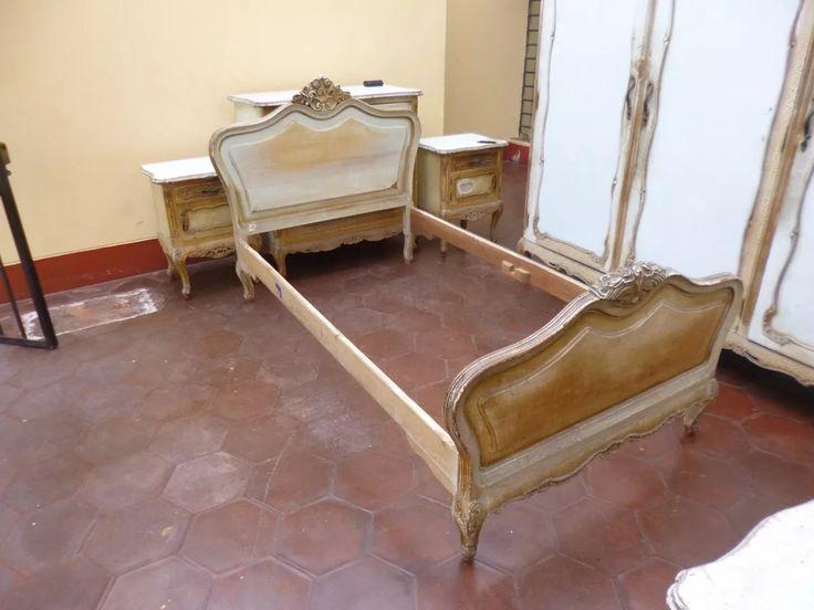 antigua cama de cedro tallado, luis xv