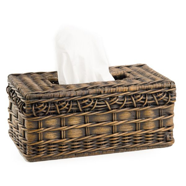 Don't leave your tissue box naked! Cover it with our beautiful fancy rattan tissue box cover. Fits a standard tissue box Colors include Antique Walnut Brown Click here to see the Boutique Tissue Box Cover