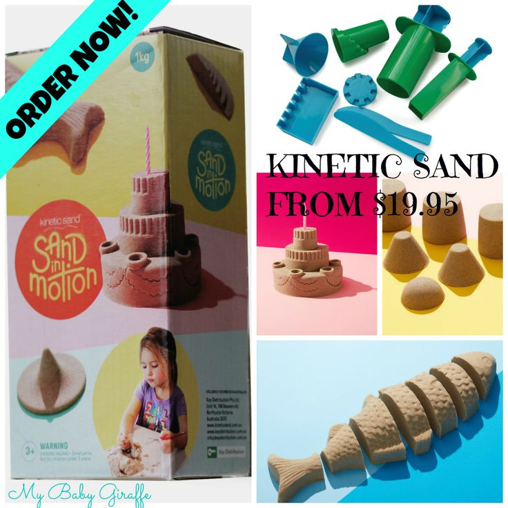 Kinetic sand ffrom $19.95 plus postage (1kg) Available for purchase from www.facebook.com/mybabygiraffe