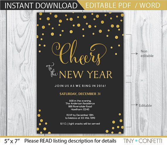 new years eve invitation - new years eve invite - new years invitation - new years eve printable - new years eve party - gold INSTANT  by TinyConfetti