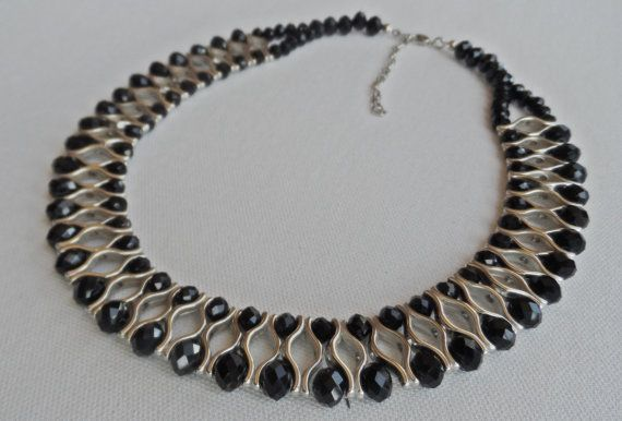 Black crystal bead necklacebridesmaid by AccessoriesInLove on Etsy