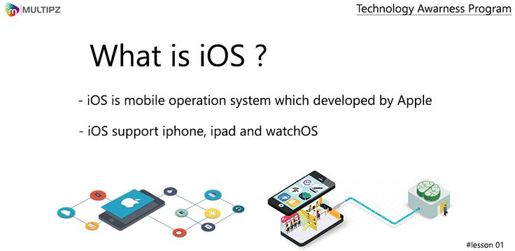 Technology Awareness Program Lesson 01: What is ios?Apple iOS is a proprietary mobile operating system that runs on the iPhone, iPad and iPod Touch. Apple iOS is based on the Mac OS X operating system for desktop and laptop computers. The iOS developer kit provides tools that allow for iOS app development