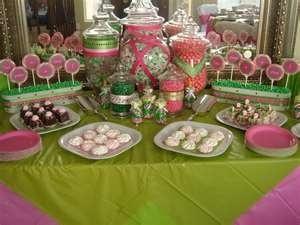 Candy Buffet  Pink Green Candy Buffet vintage-weddings