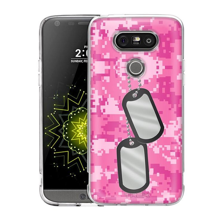 LG G5 Nameplate on Digital Pink Camouflage Slim Case
