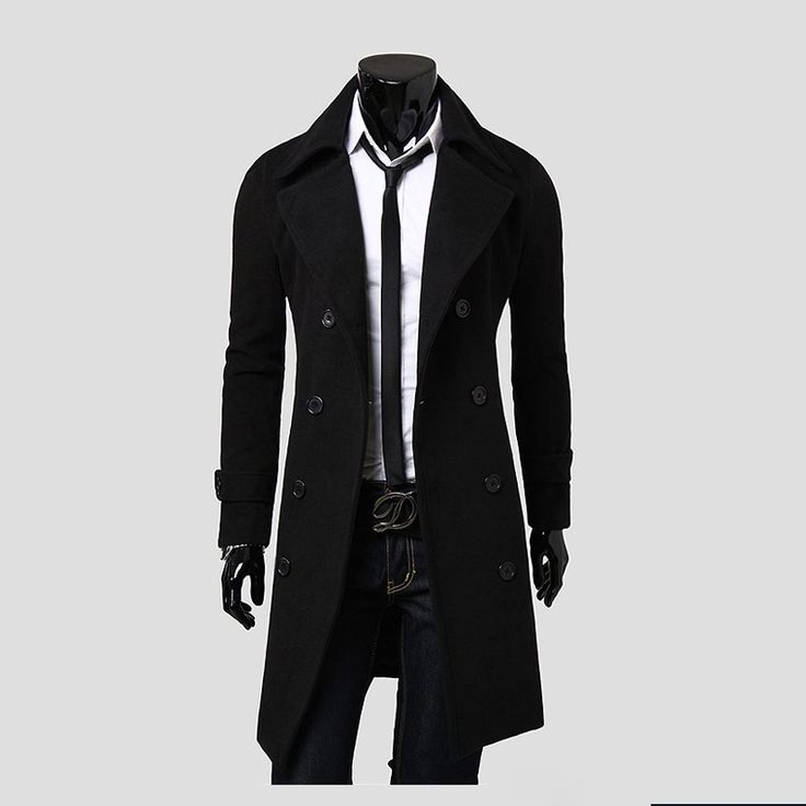 Men's Slim Double Breasted Overcoat. Also available in beige and grey.