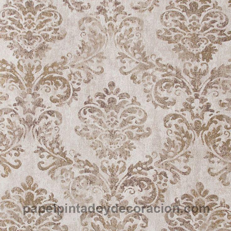 Papel pintado Coordonné Komorebi ornamento vintage tonos marrones efecto brillo dorado 81804
