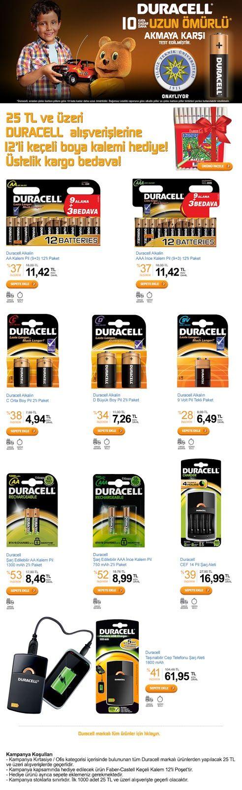 25 TL ve üzeri Duracell alışverişlerine 12'li keçeli boya kalemi hediye - Kampanya Takip