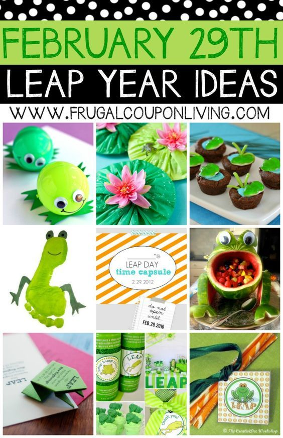 Leap Day Activities and Ideas - Make the Leap Year, February 29th, special for your Kids. These frog ideas also make great Frog Party Ideas.