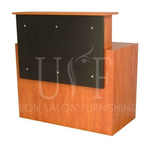 An elegant wooden laminated reception desk.