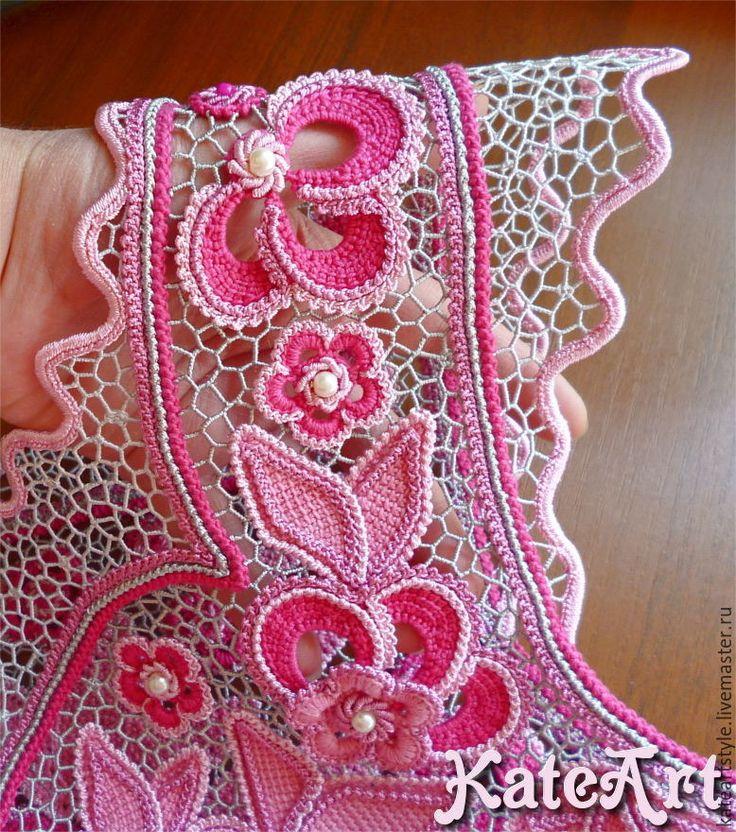 """Купить Блузка """"Коломбина"""" вязаная в технике ирландского кружева - цветочный, блузка летняя, блузка нарядная"""