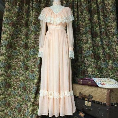 GUNNE SAX シフォンワンピース ピンク dress pink ガニーサックス vintage