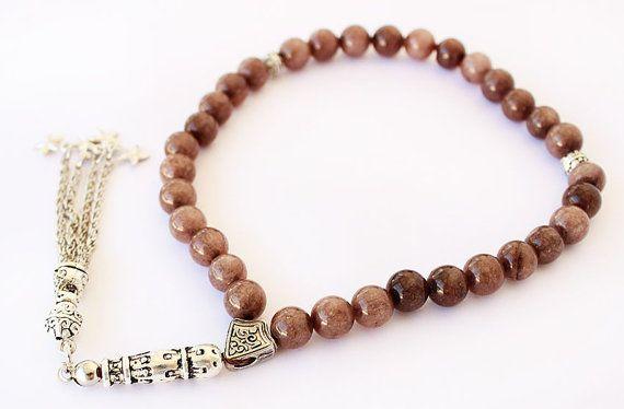 Prayer Beads 33 Tasbih Light Brown Jade by asteriascollection