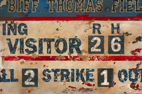 Vintage Baseball Scoreboard Sports Art Canvas- Navy Cream by Aaron Christensen.  Perfect for baseball players, fans and future all-stars by EmbellishmentsStudio on Etsy https://www.etsy.com/listing/193890915/vintage-baseball-scoreboard-sports-art
