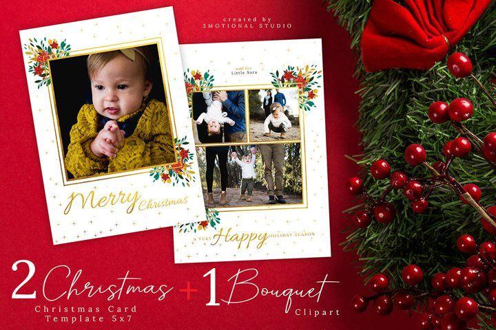 Christmas Card Template 5x7 411451 Illustrations Design Bundles In 2021 Christmas Photo Card Template Christmas Card Photoshop Christmas Card Template