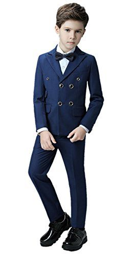 282004a53 WQI.HAN Boys Double Breasted Formal Suits 5 Piece Slim Fit Dresswear ...