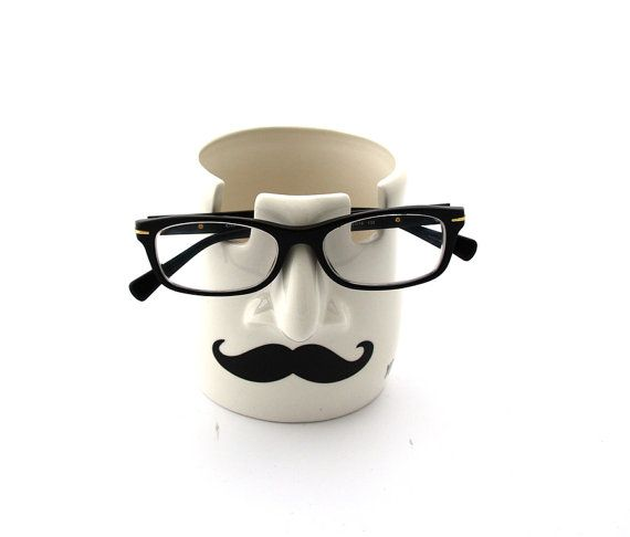 Pencil cup and glasses holder mustache you're by LennyMud on Etsy