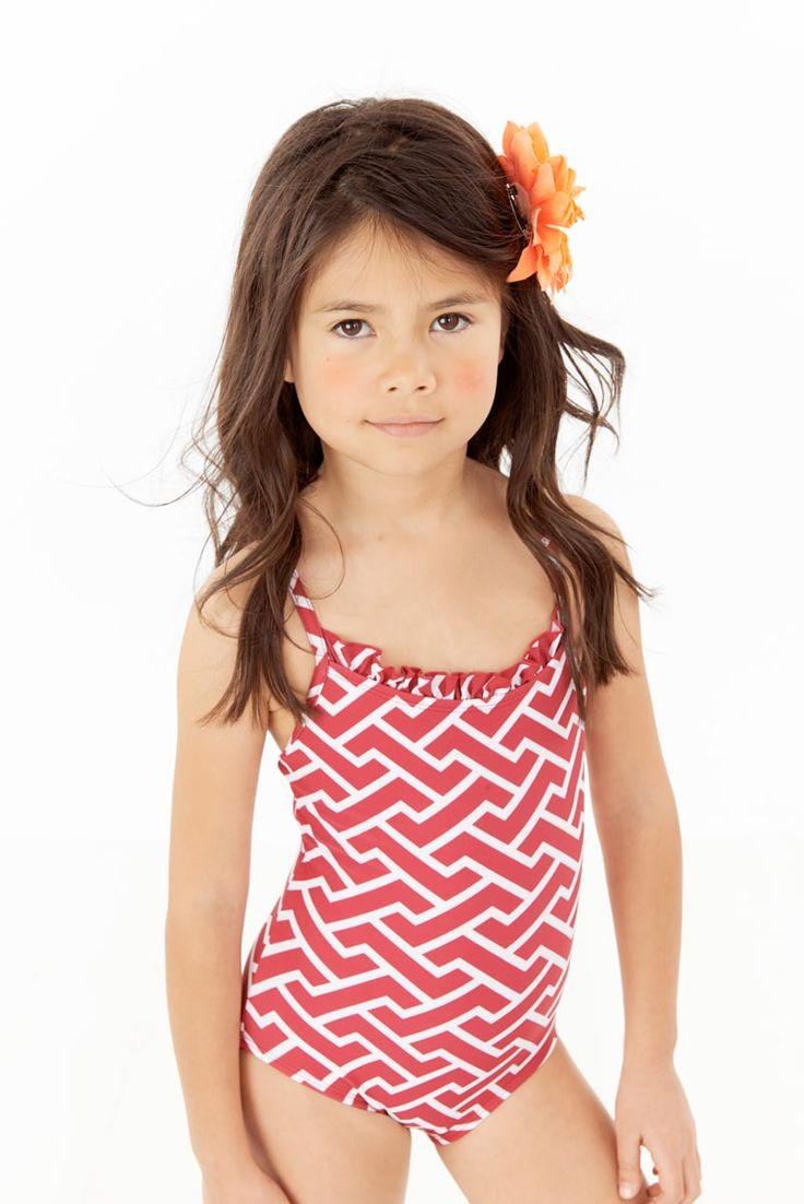 Wicker Red printed Ruffle Neck one piece swimsuit for ...