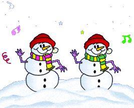 2 happy dancing snowmen
