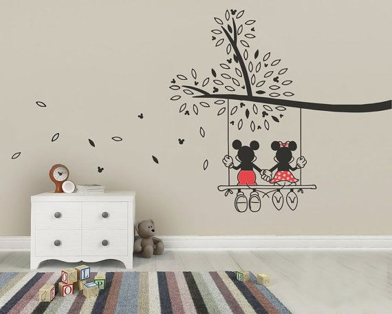 Mickey Mouse U0026 Minnie Tree Swing Wall Sticker   Wall Art Decal Made From  Vinyl Childrens Bedroom Nursery Art Part 9