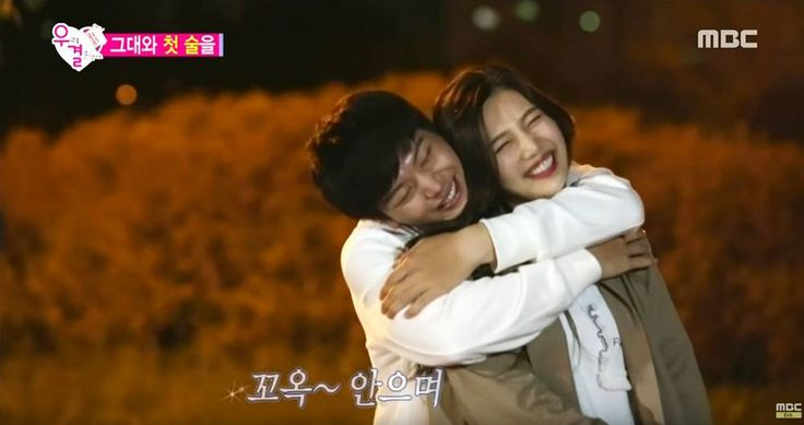 Adorable! Sungjae and Joy back hug after their first adult drink together on 'We Got Married' | http://www.allkpop.com/article/2015/11/sungjae-and-joy-back-hug-after-their-first-adult-drink-together-on-we-got-married