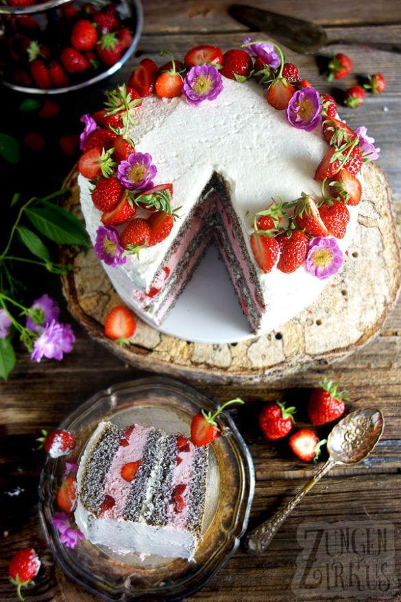 Erdbeermohnkuchen mit Erdbeerjoghurtcreme – Zungenzirkus   – Backen