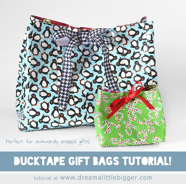 Cute Custom Gift Bags made out of Duck Tape. Tutorial