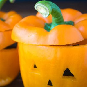 Bell Pepper Jack-O-Lantern Veggies And Ranch Dip