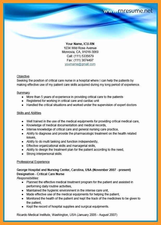 critical care nurse resume elegant 9 10 critical care