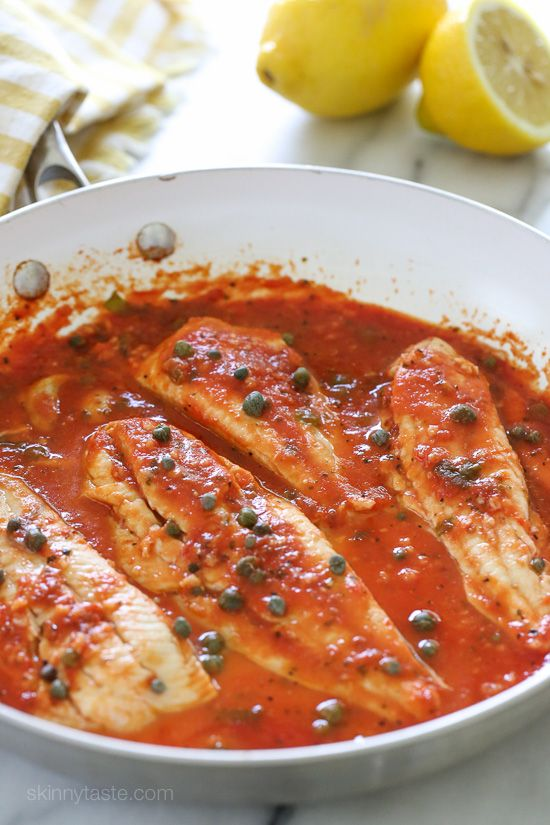 "Skillet Fish Fillet with Tomatoes, White Wine and Capers (""If you're lucky enough to get your hands on some fresh white fish such as Fluke, Flounder, Halibut, etc., this easy skillet recipe is a must."")"